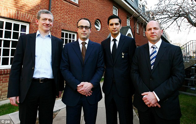 Guardian Angels: Dr Jonathan Tobin (right) was one of four men to help save Fabrice Mumaba's life. The others (from left to right) were heart specialist Dr Andrew Deaner, consultant cardiologist Dr Sam Mohiddin and Tottenham medic Shabaaz Mughal