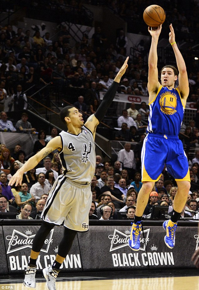Big performance: Klay Thompson (right) scored 34 points in Golden State's 100-91 win over San Antonio