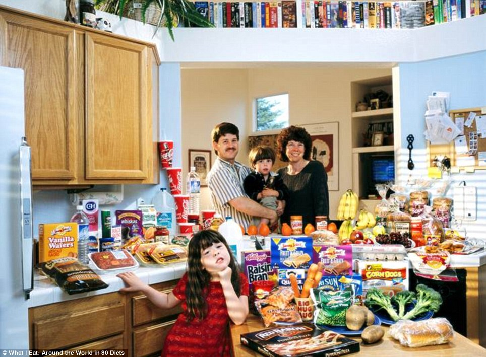 United States: The Caven family from California who spend around £103 a week on food