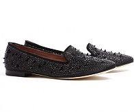 Sam Edelman black Adena satin crystal stud smoking slipper, £140, my-wardrobe.com