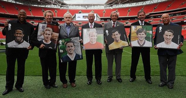 Stamp duty: Sir Bobby Charlton was joined by John Barnes, Denis Law, Dave Mackay, Gordon Banks, Bryan Robson and Jimmy Greaves at Wembley