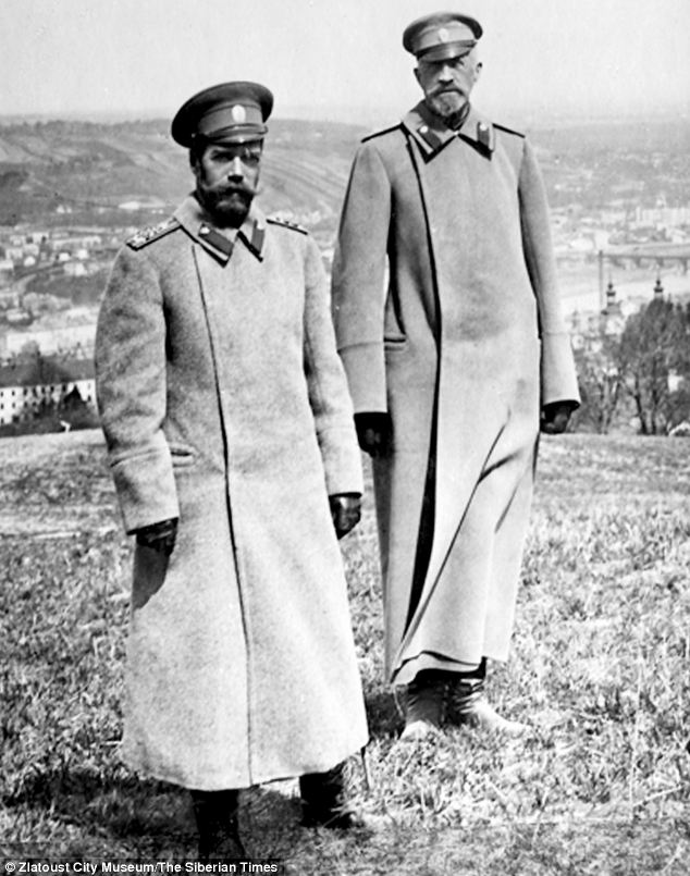 The pictures, including this of Nicholas II, left, are held at the Zlatoust City Museum