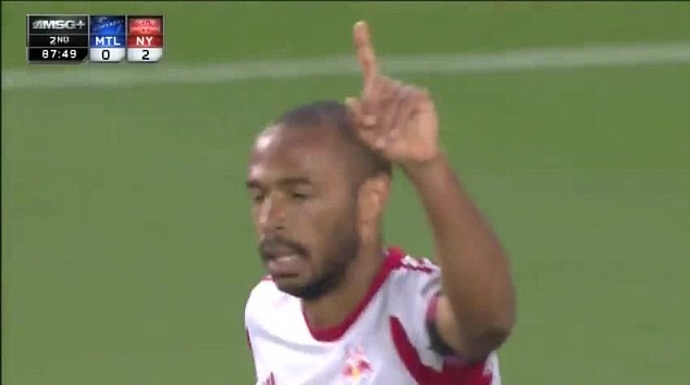 Still got it: Thierry Henry scored a stunning bicycle kick for the New York Red Bulls against Montreal in the MLS
