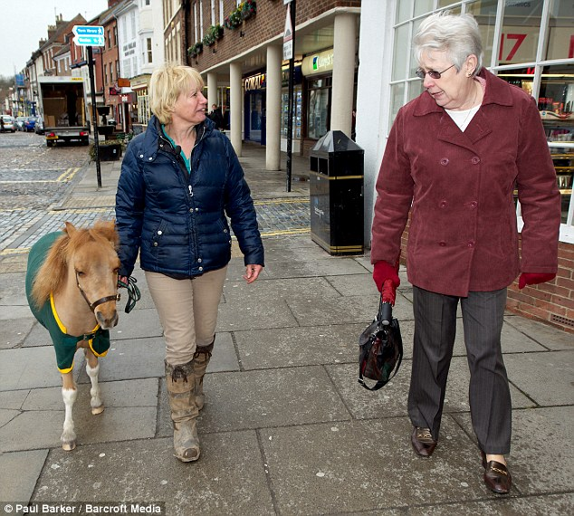 Popular: Mr P is treated like a local celebrity when he is taken for shopping trips along the high street