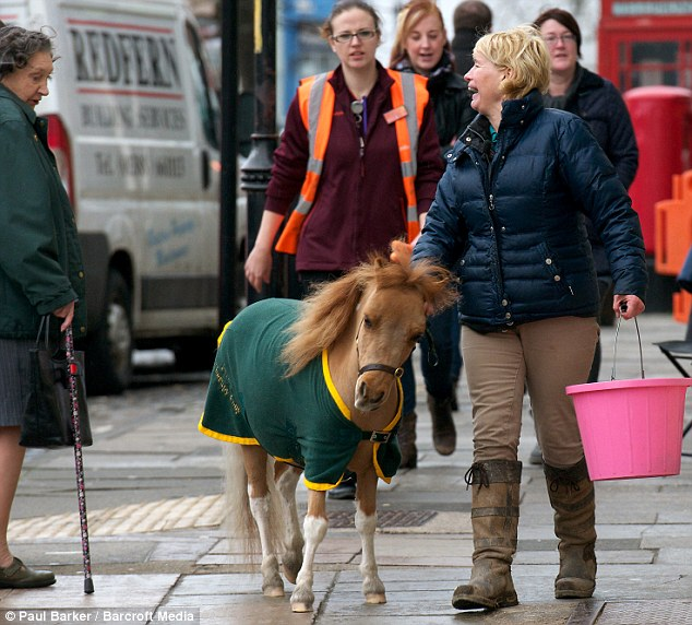 Afternoon out: Mr P cost Mrs Smith £2,000 from a specialist breeder six months ago. The pair are pictured taking a walk in Yarm