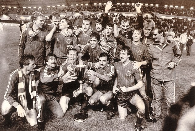What a team: The Dons players celebrate after getting the better of Real Madrid in the Ullevi Stadium
