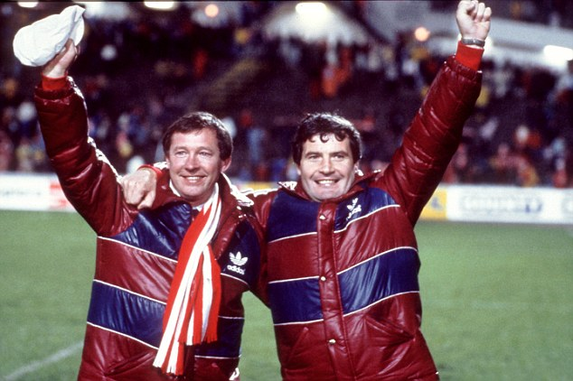 Real deal: Alex Ferguson (left) and assistant Archie Knox celebrate Aberdeen's win over Madrid