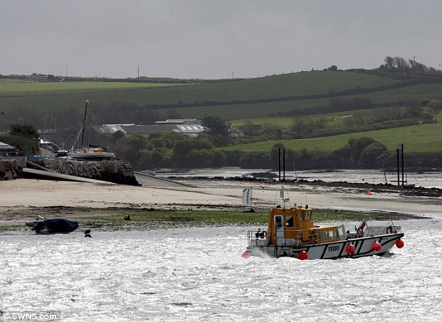 Difficult: The Padstow to Rock Ferry struggles on the rough waters in Cornwall today