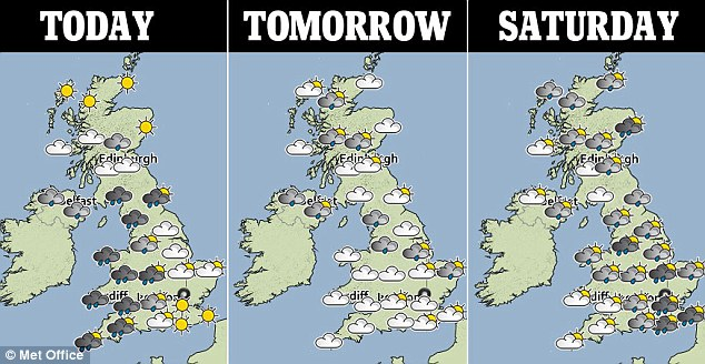 Gloomy: This Met Office three-day weather forecast shows how wet the conditions will be for many people across the UK over the next few days