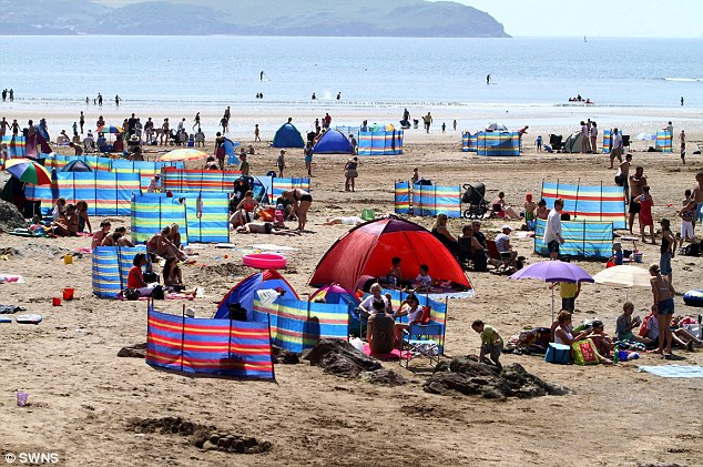 Day out: Bigbury Beach in Devon is located in an area of outstanding natural beauty