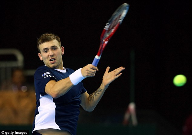 Winner: Dan Evans beat Russia's Evgeny Donskoy during day three of GB's last Davis Cup match