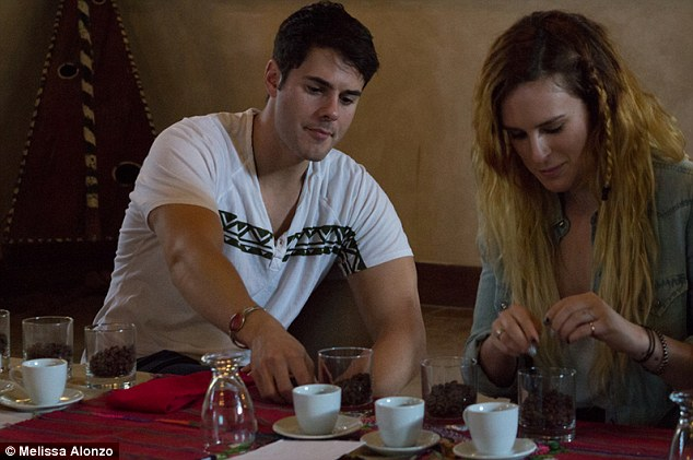 Afternoon coffee: The couple were seen enjoying a coffee taste test at the Porta Hotel Antigua