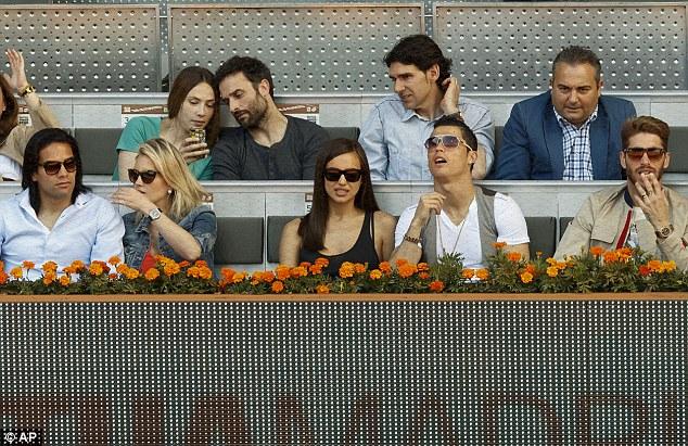 The gang's all here: Radamel Falcao (left), Cristiano Ronaldo (centre) and Sergio Ramos (right) at the tennis
