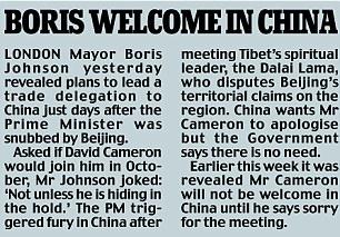 Boris welcome in China