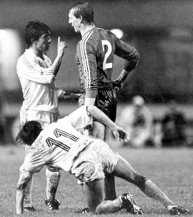 Pick on someone your own size: Juanito tries to have a word with Aberdeen defender Doug Rougvie