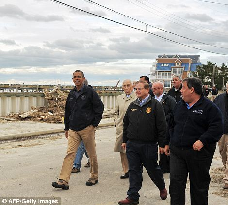Tour: Much like the President before him, Prince Harry will be looking at two different New Jersey towns that were wrecked by the October storm