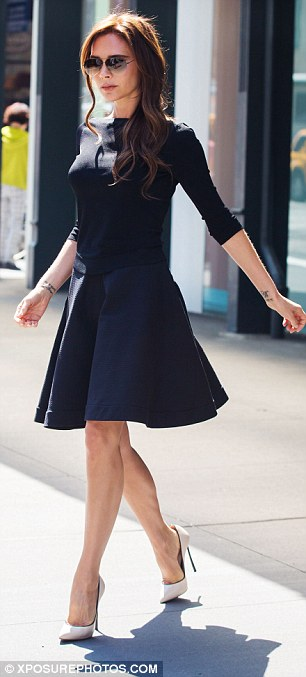 Classic black: She opted for ladylike chic and obligatory heels as she made her way around the sunny city