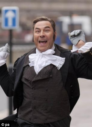 David Walliams during the filming of