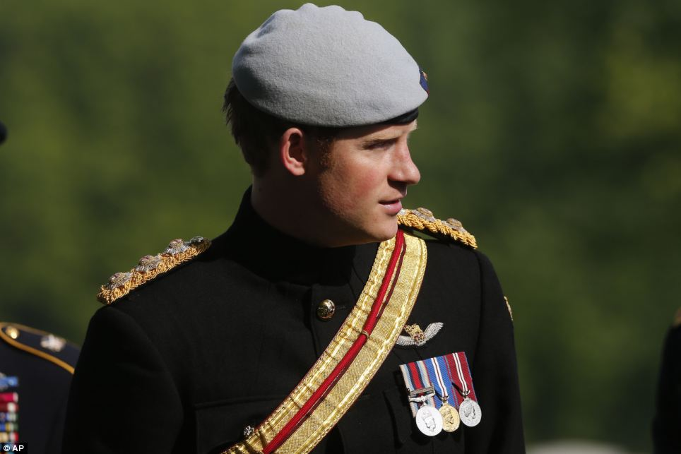 Dapper: Prince Harry wore the No. 1 Ceremonial Dress of the Blues and Royals, to which he is still officially attached