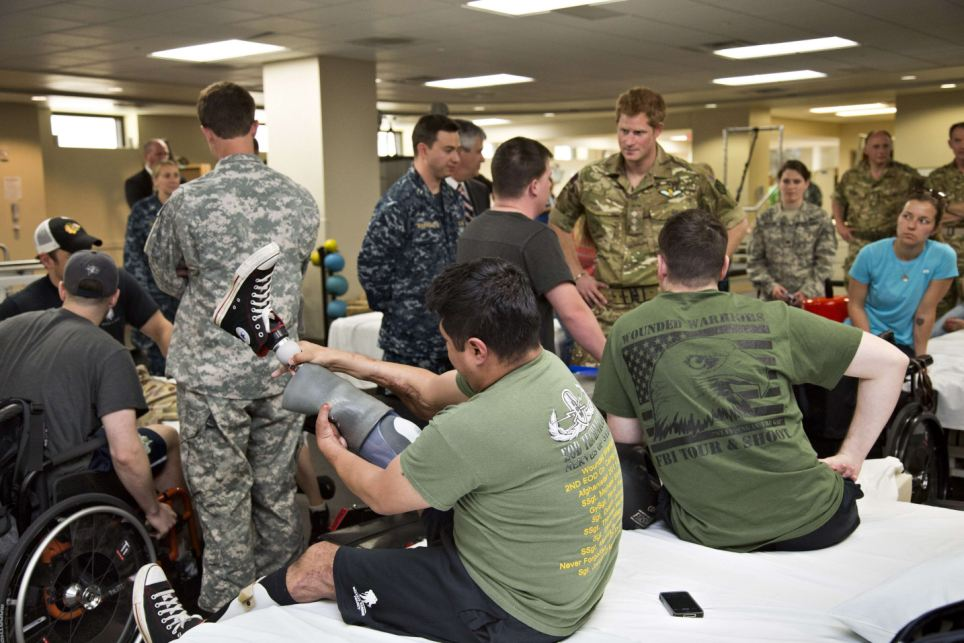 Treatment: He spends time with wounded warriors undergoing physical therapy at the Military Advanced Training Center of Walter Reed National Military Medical Center