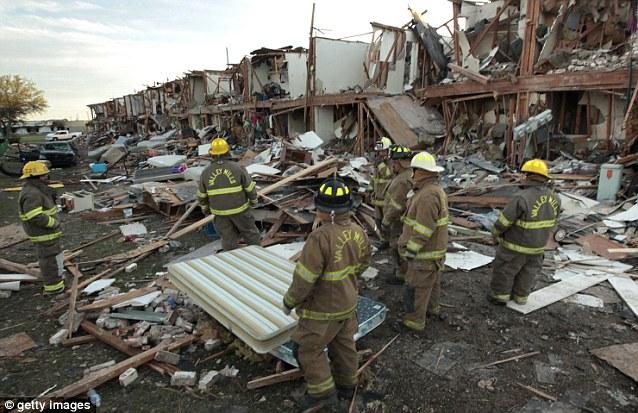 Destruction: This apartment complex near the fertilizer plant was destroyed by the explosion