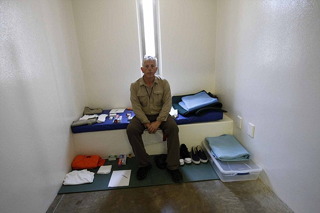 Permitted to sit inside one of the cells, with its stainless steel sink and toilet, and the narrow padded ledge that serves as a bed, David tried - and failed - to imagine what it might feel like to remain there interminably