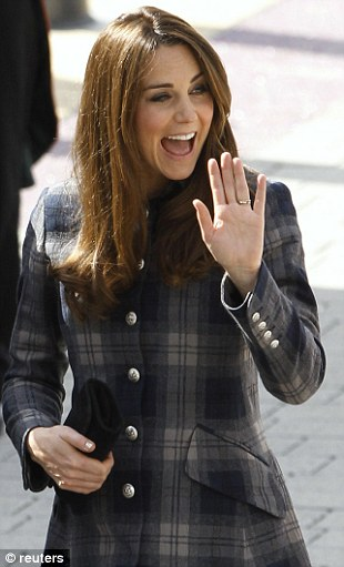 Kate waves as she arrive for a visit to the Emirates Arena in Glasgow, Scotland on April 4