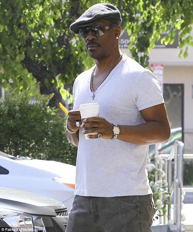 Funny guy: The former Saturday Night Live star looked fit and trim in a V-neck T-shirt