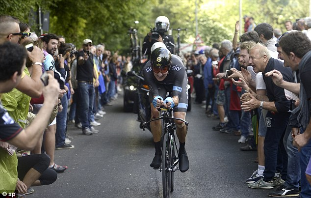 Exhausted: Bradley Wiggins gritted his teeth to pull out a second place finish, but he didn't gain as much time over Vincenzo Nibali as he may have wanted