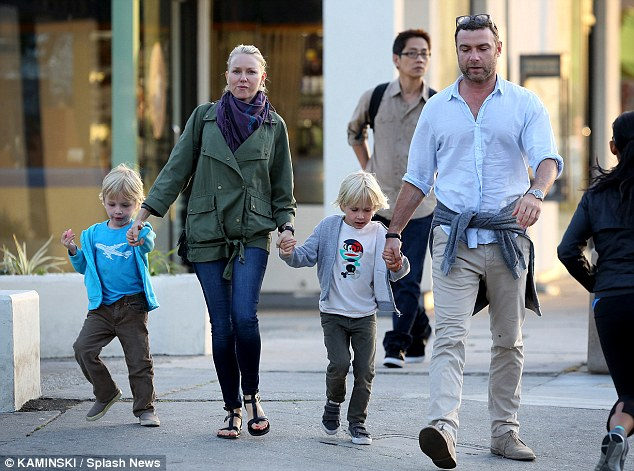 All together: The whole family was spotted in Brentwood late last month while Liev Schreiber shoots his new Showtime series
