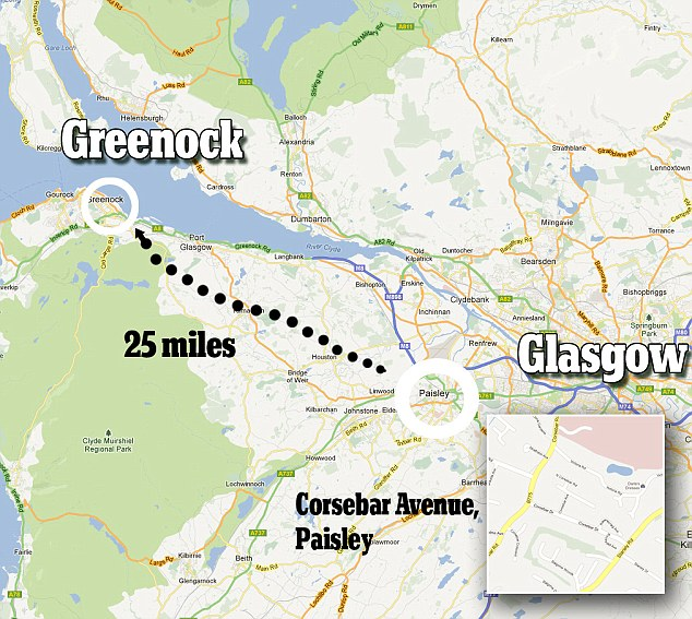 The McDonoughs booked into the Premier Inn hotel in Greenock, 25 miles from their Paisley home
