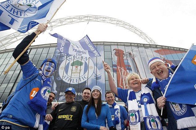 Fan-tastic: Wigan supporters at Wembley ahead of the FA Cup final against Manchester City