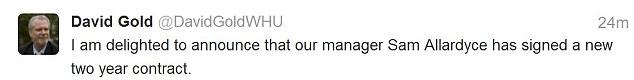 Sam Allardyce new contract David Gold tweet