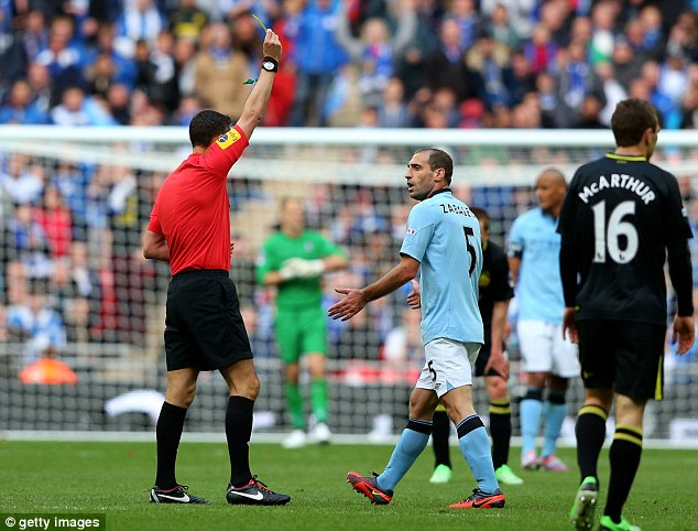 Off: City defender Pablo Zabaleta saw red late in the game for two yellow cards