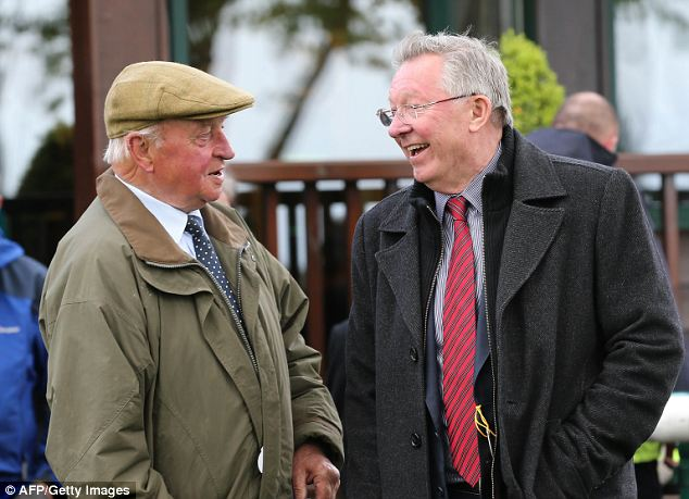 All smiles: Ferguson has a laugh with Yorkshire trainer Peter Easterby