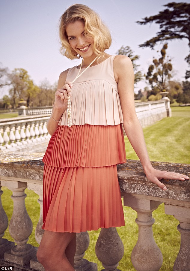 Sixties: Max & Co tiered dress, £179, and long pearl necklace, £139, Fenwick, 020 7629 9161