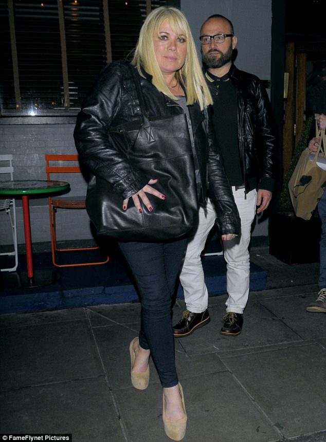 Relaxed affair: The 45-year-old actress wore a pair of jeans and a leather jacket for the night on the town in Soho
