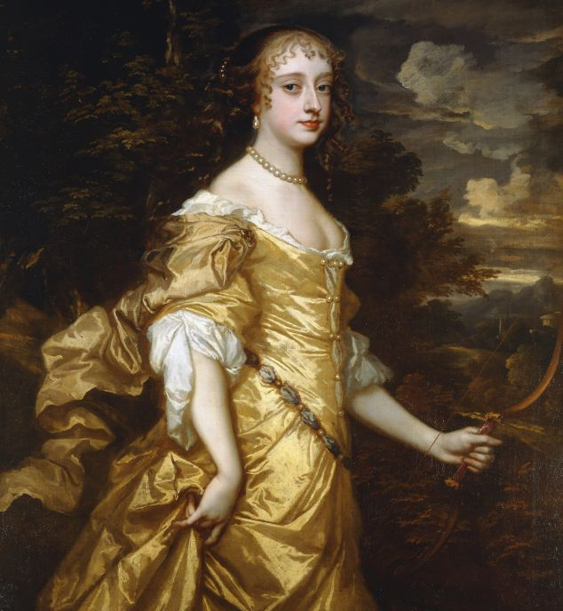 Glamour: Frances Theresa Stewart, the Duchess of Richmond, displays ample cleavage in this plunging gold dress, one of a number of examples of 16th and 17th-century fashion on show at the Queen's Gallery, Buckingham Palace