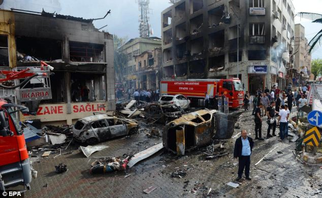 A view of the exploded area in Hatay, Reyhanli District. One group said the attacks were intended as a punishment for Turkey's support of the uprising