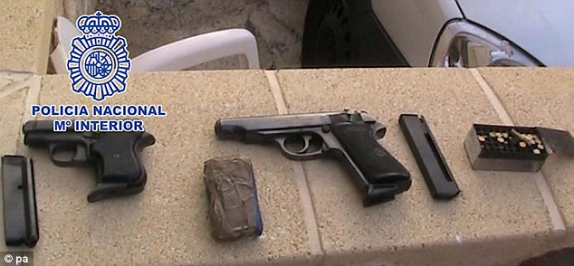 A pair of guns and cartridges were found among Moran's possessions
