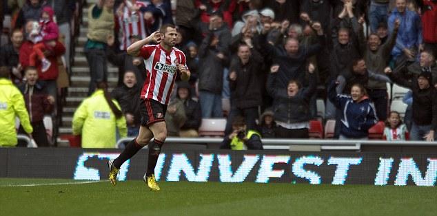 Time to celebrate: Phil Bardsley fired struggling Sunderland in front