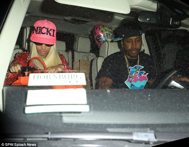 She came prepared: Nicki Minaj toted a Happy Mother's Day balloon as she arrived at Beverly Hills eatery Crustacean with boyfriend Safaree Samuels