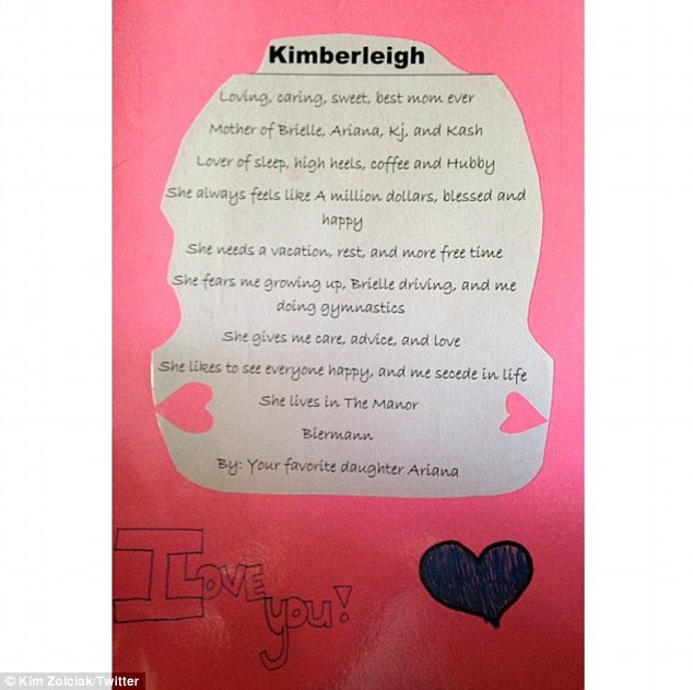 Precious keepsakes: Kim Zolciak showed off a handmade card from her 11-year-old daughter Ariana