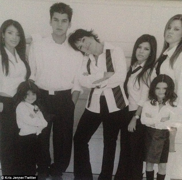 The Kardashian clan: Kris shared a black-and-white photo of herself surrounded by her six children