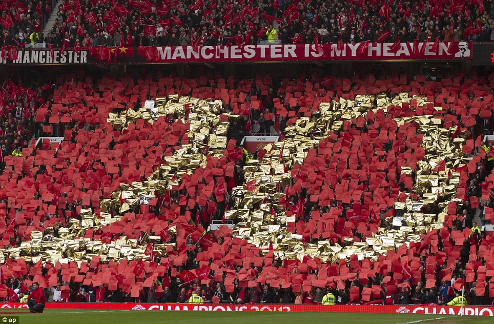 Achievement: United fans made a mosaic of the No 20 after watching Ferguson take the club to their 20th league title after beating Aston Villa