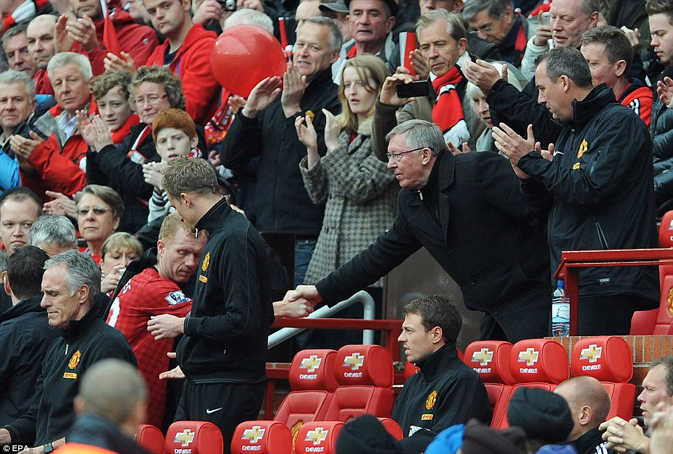 Understated: Ferguson substituted the retiring Scholes to give him the standing ovation he deserved