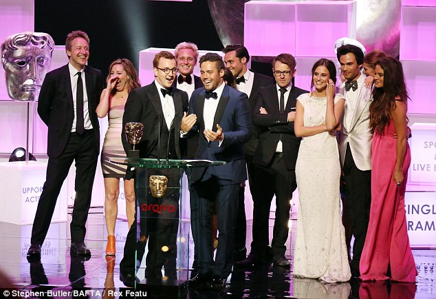 All together: Petite Louise stood behind her ex-boyfriend Spencer and next to her new boyfriend Andy as Made In Chelsea picked up a trophy during proceedings