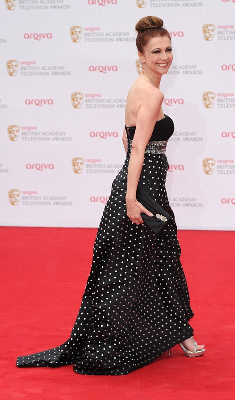 Spaced and Dotty: Actress Jessica Hynes looked pleasant in a black and skin coloured evening dress (left), while Emma Samms opted for polka-dot to attend the bash (right)