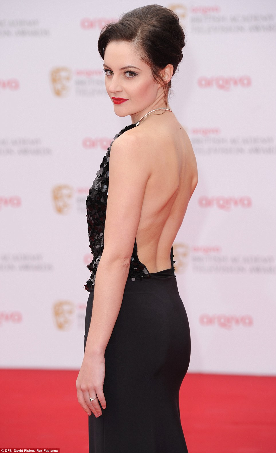 Backless wonder: Corrie actress Paula Lane drew attention with her elegant black dress