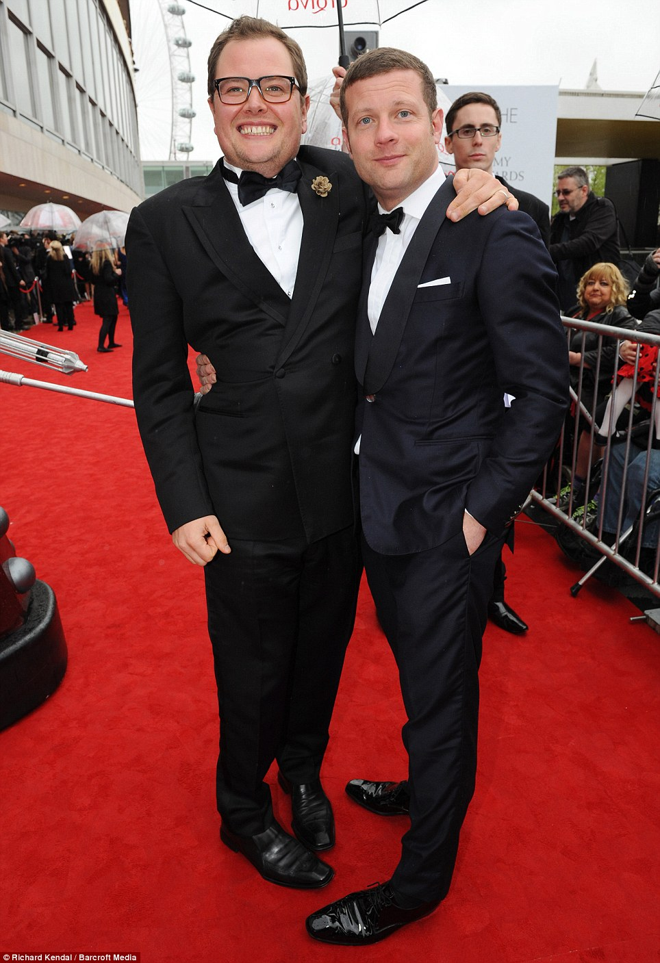 Suited and booted: Alan Carr and Dermot O'Leary both looked dapper for the night of awards